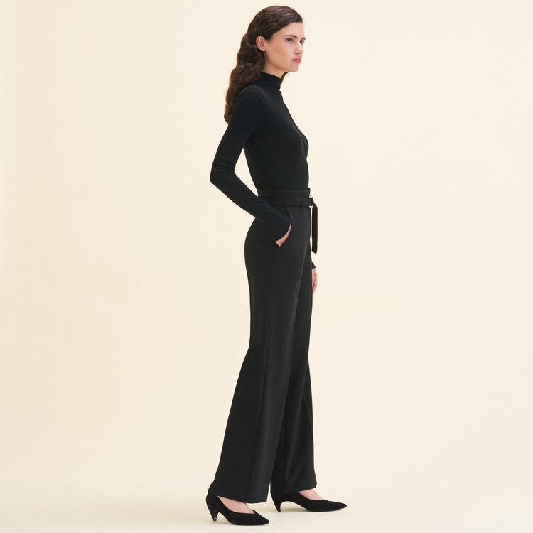 Pantalon large à taille haute : Pantalons couleur Black