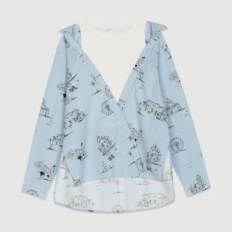 Chemise rayée à imprimé Paris : Tops & Chemises couleur Bleu