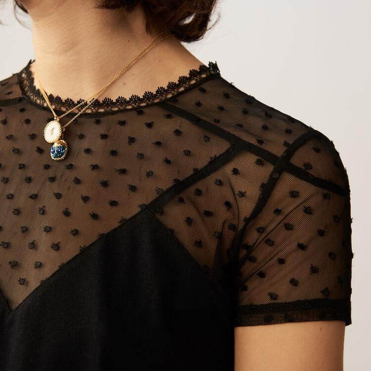 Tee-shirt avec incrustation en plumetis : T-Shirts couleur Black