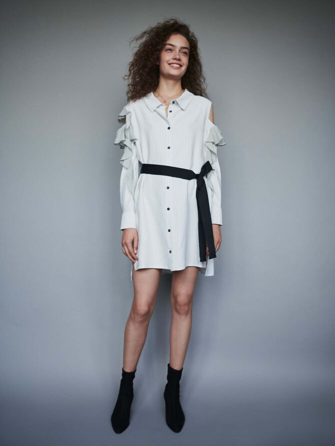 Robe-chemise rayée à volants - Robes - MAJE