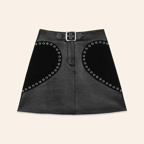 Jupe trapèze en cuir : null couleur BLACK