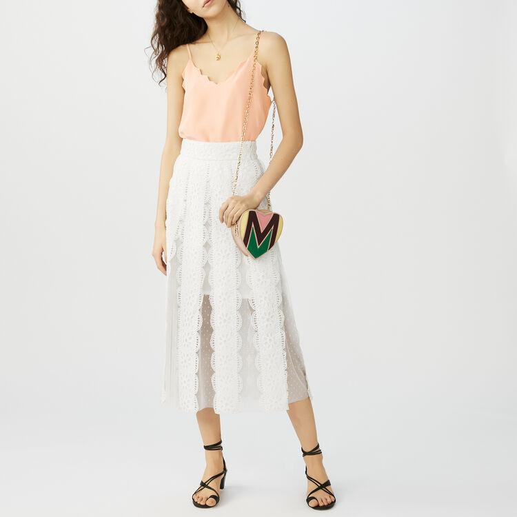 Jupe longue en plumetis : Tout voir couleur Blanc