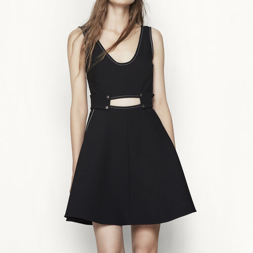 Short dress with saddle stitching : Dresses color Black 210