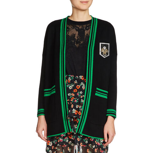 Gilet mi-long avec écusson : Pulls & Cardigans couleur Black