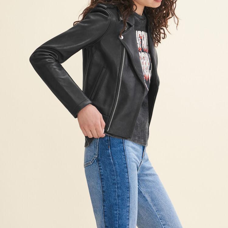 Blouson en cuir contrecollé : Blousons couleur Black