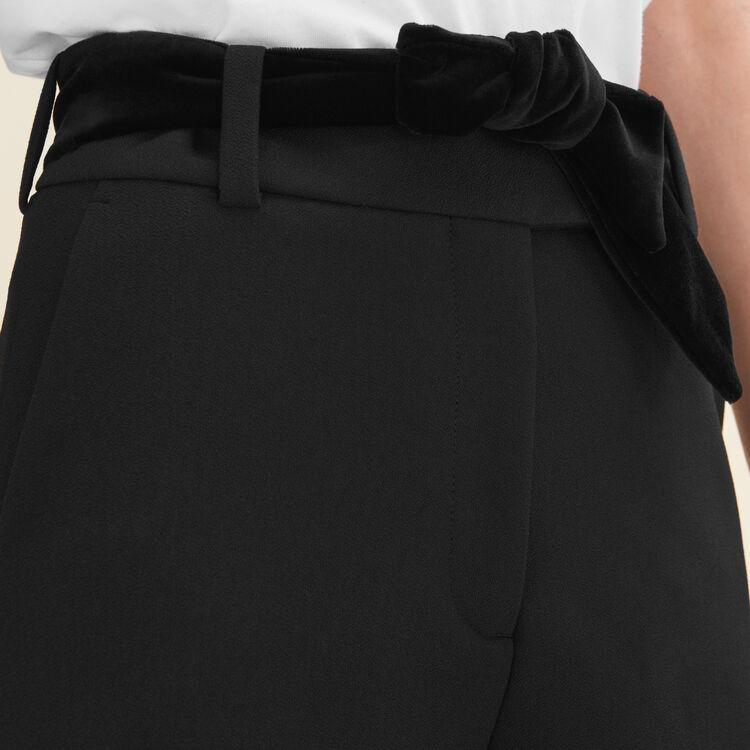Short taille haute en crêpe : Petits prix couleur Black