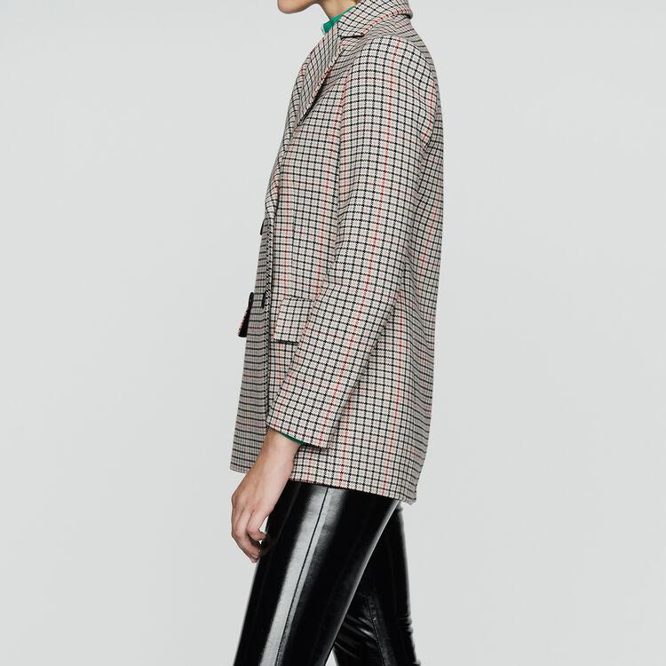 Blazer à carreaux en laine mélangée : Prêt-à-porter couleur CARREAUX