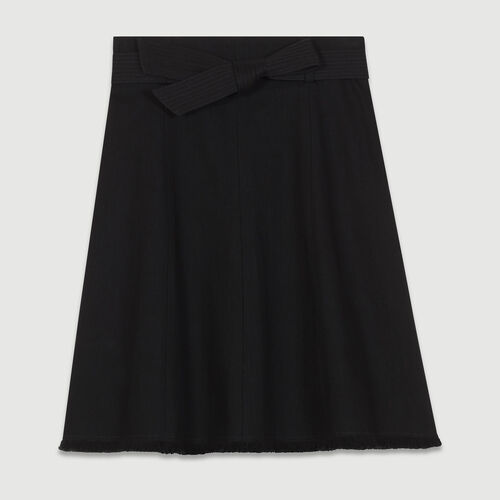 Jupe à godets en denim : Jupes & Shorts couleur BLACK