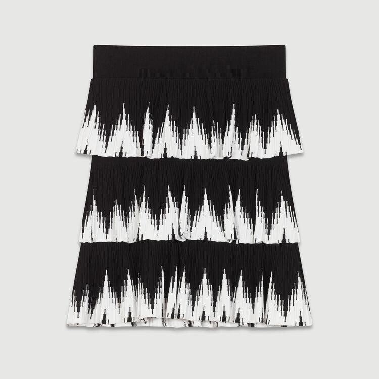 Jupe en maille à volants : Jupes & Shorts couleur Black