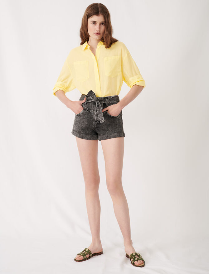 Belted faded shorts - Skirts & Shorts - MAJE