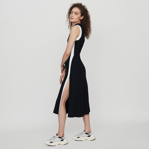 Split and contrasting ribbed dress : Winter collection color Black