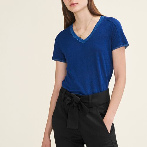 T-shirt with lurex detailing : T-shirts color Blue