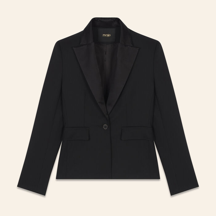 Veste de tailleur en laine mélangée : Blousons & Vestes couleur Black