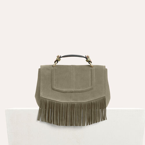 Mini satchel in suede with fringe : See all color Khaki