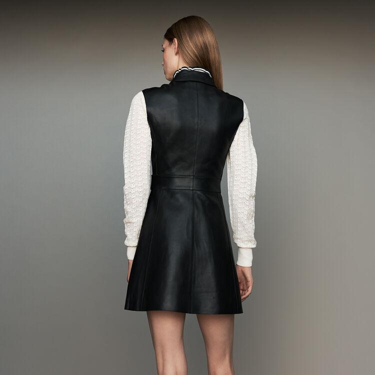 Robe-chemise sans manches en cuir : Robes couleur Black