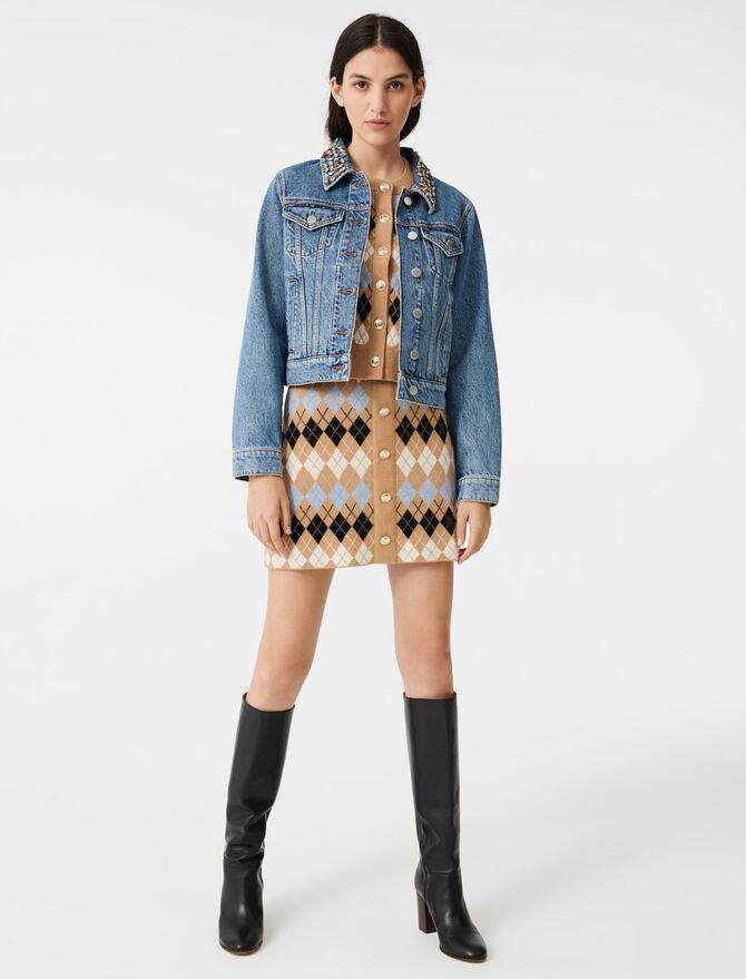 Blouson en jean avec col à strass - Manteaux & Blousons - MAJE