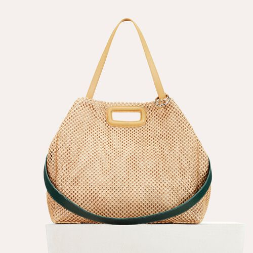 Raffia and leather tote bag : See all color NATURELS