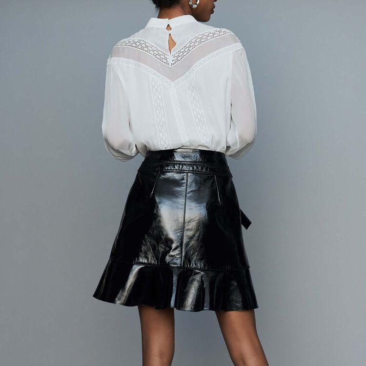 Jupe asymétrique en cuir verni : Prêt-à-porter couleur Black