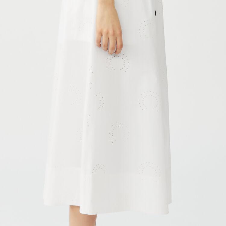 Jupe longue brodée avec short inséré : Jupes & Shorts couleur Blanc