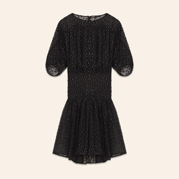 Robe en soie floquée : Robes couleur Black