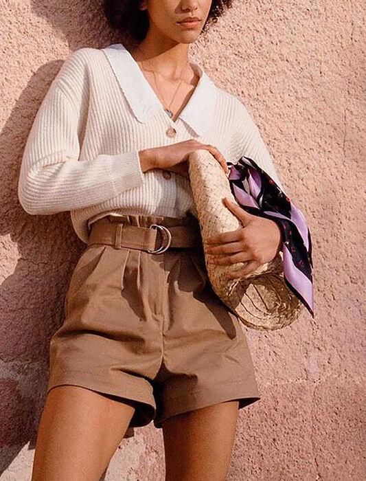 Short en coton stretch ceinturé : Jupes & Shorts couleur Beige