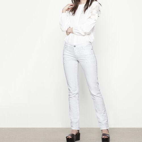 Jean taille haute avec broderies : Pantalons & Jeans couleur Blanc