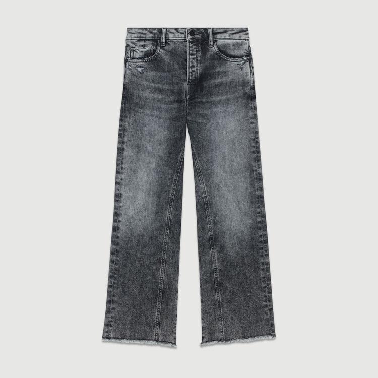 Jeanlarge avec détails usés : Jeans couleur Gris