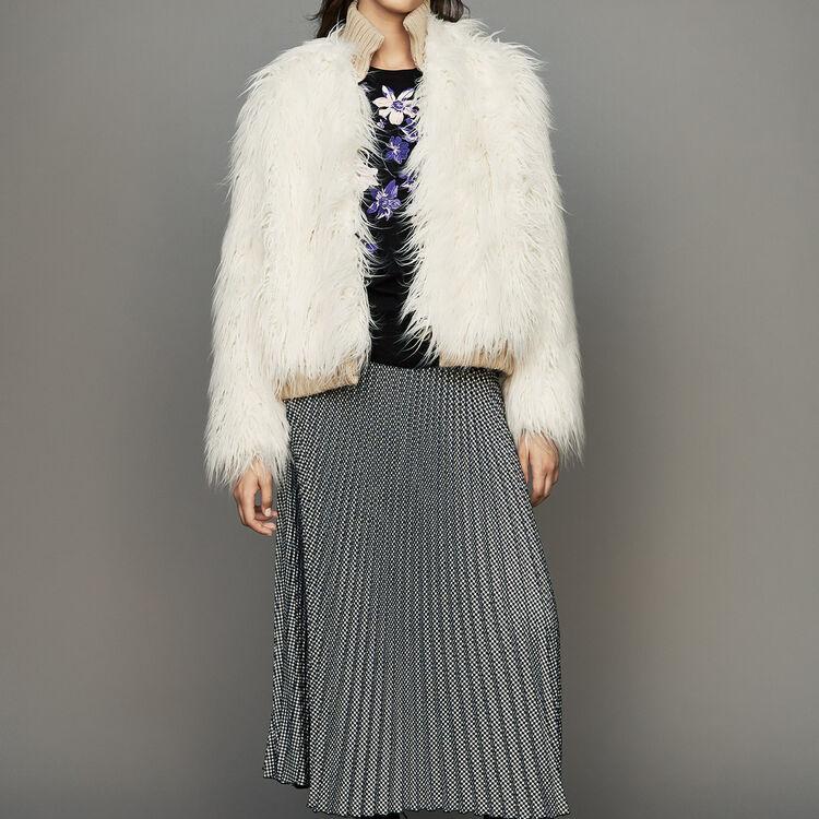 Manteau court en fausse fourrure : Manteaux couleur ECRU