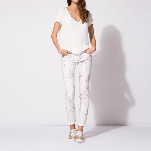 Jean slim en coton imprimé marbre : Pantalons & Jeans couleur Imprime