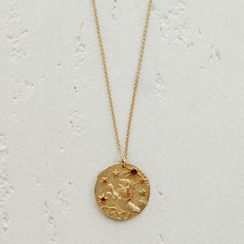 Lion zodiac sign necklace : See all color GOLD