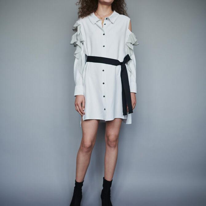 Striped ruffled shirt dress - See all - MAJE