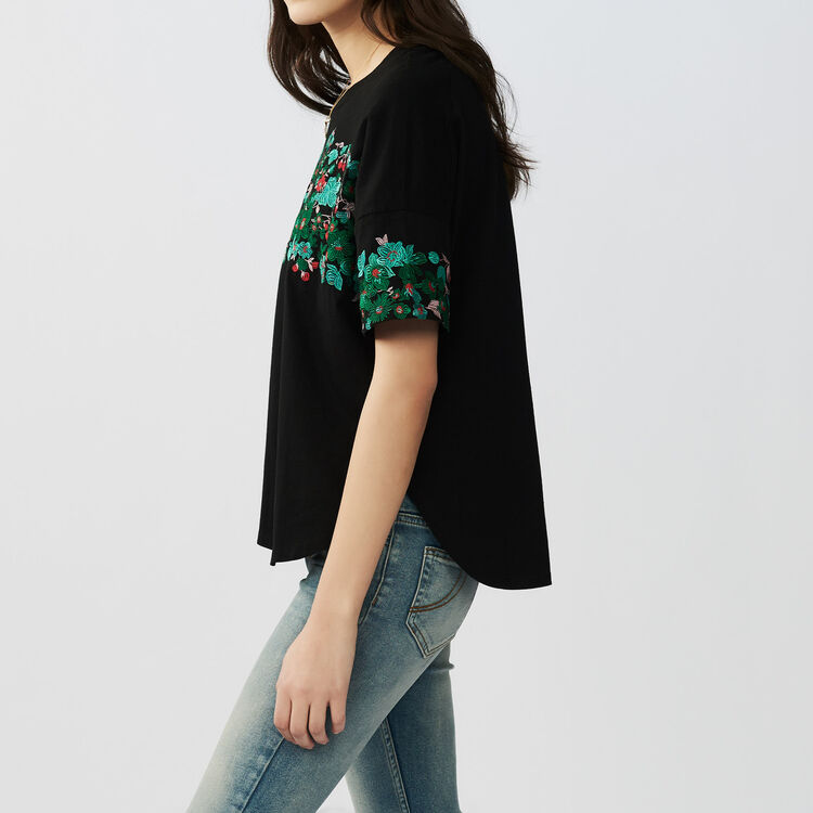 Tee-shirt loose brodé en coton : T-Shirts couleur Black