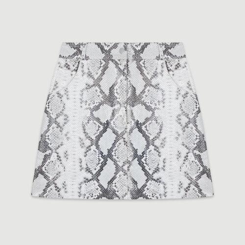 Jupe courte en cuir effet python : Jupes & Shorts couleur Imprime