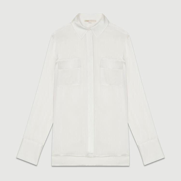 Chemise fluide en soie : Chemises couleur Blanc