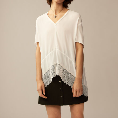 Oversized top with guipure lace : See all color Ecru