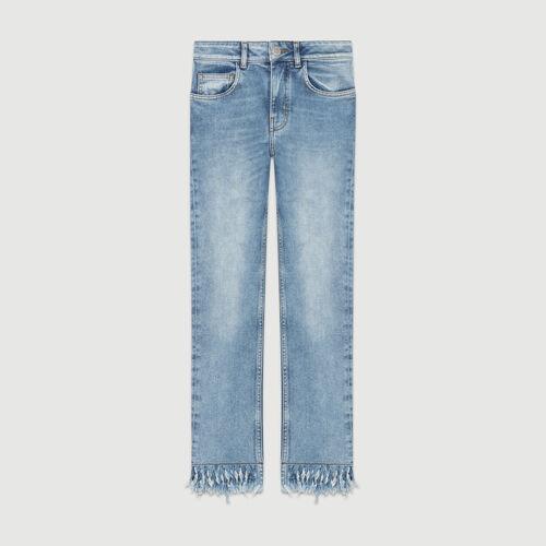 Jean droit avec ourlet frangé : Jeans couleur DENIM