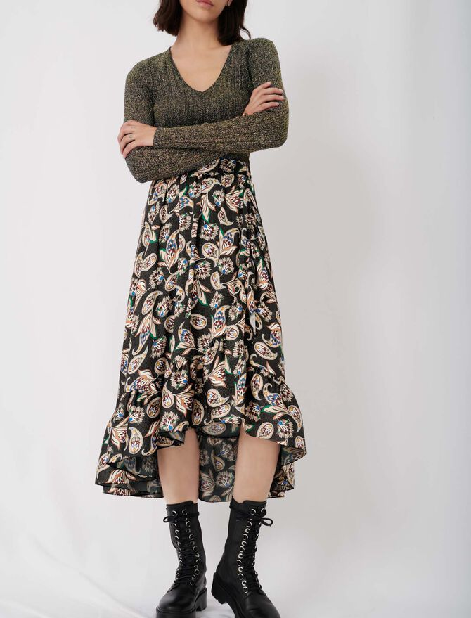 Long printed skirt with ruffles - New collection - MAJE