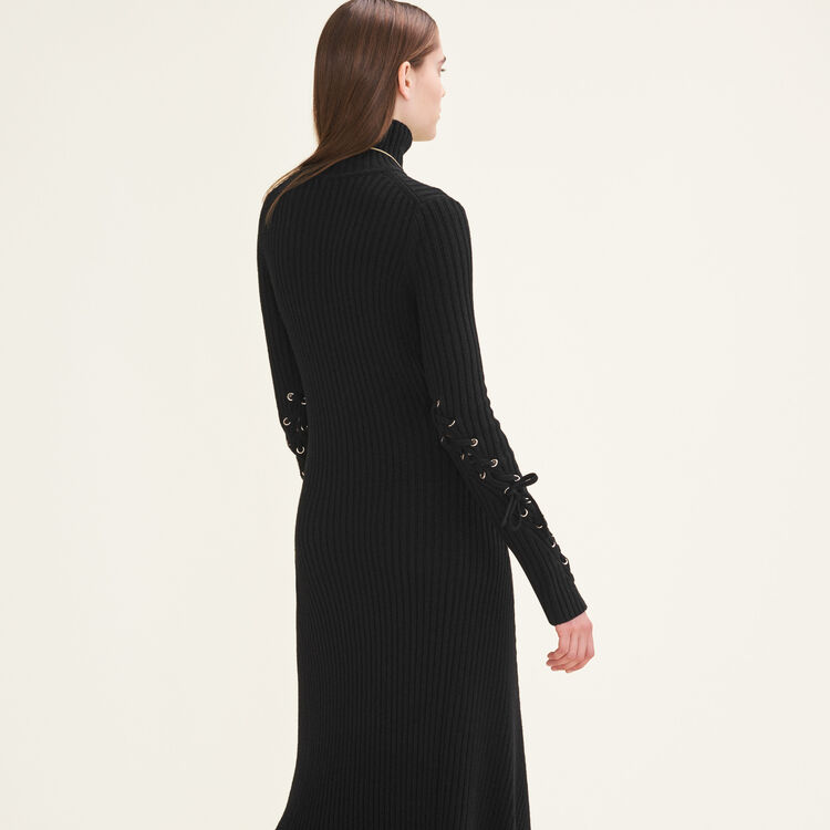 Robe longue en maille tube : Robes couleur Black