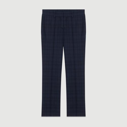 Pantalon 7/8 à carreaux fondus : Pantalons couleur MARINE