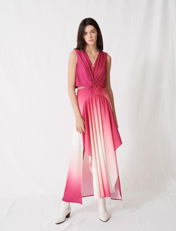 Tie-dye satin scarf dress - Dresses - MAJE