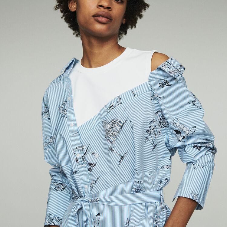 Robe-chemise trompe-l'œil imprimée : Robes couleur Bleu
