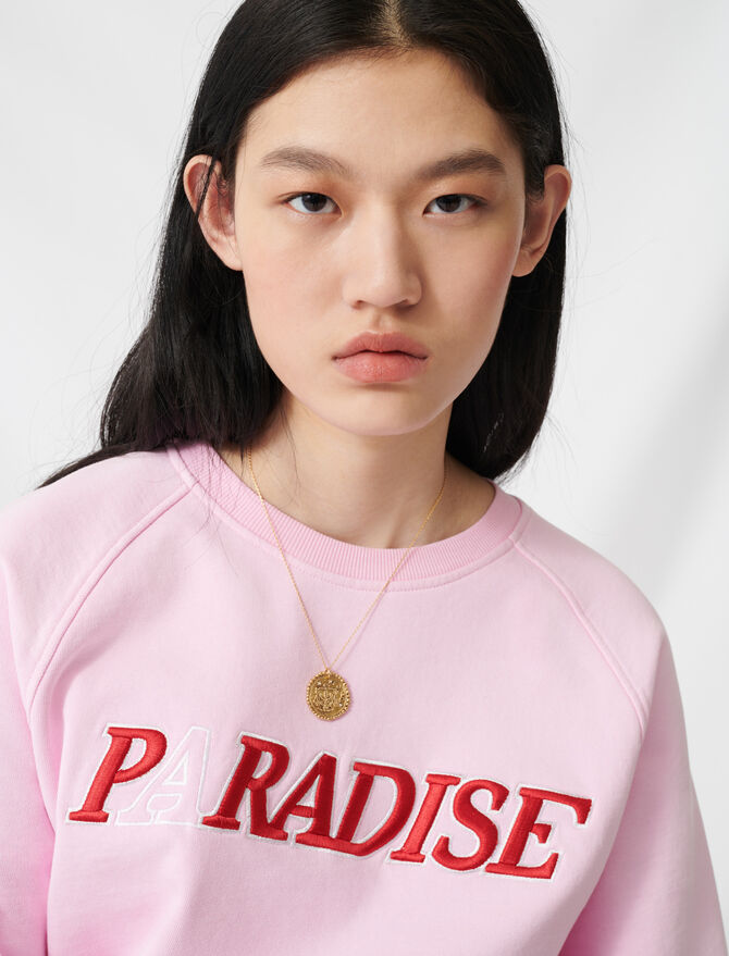 Soft sweatshirt with Paradise embroidery - Pullovers & Cardigans - MAJE