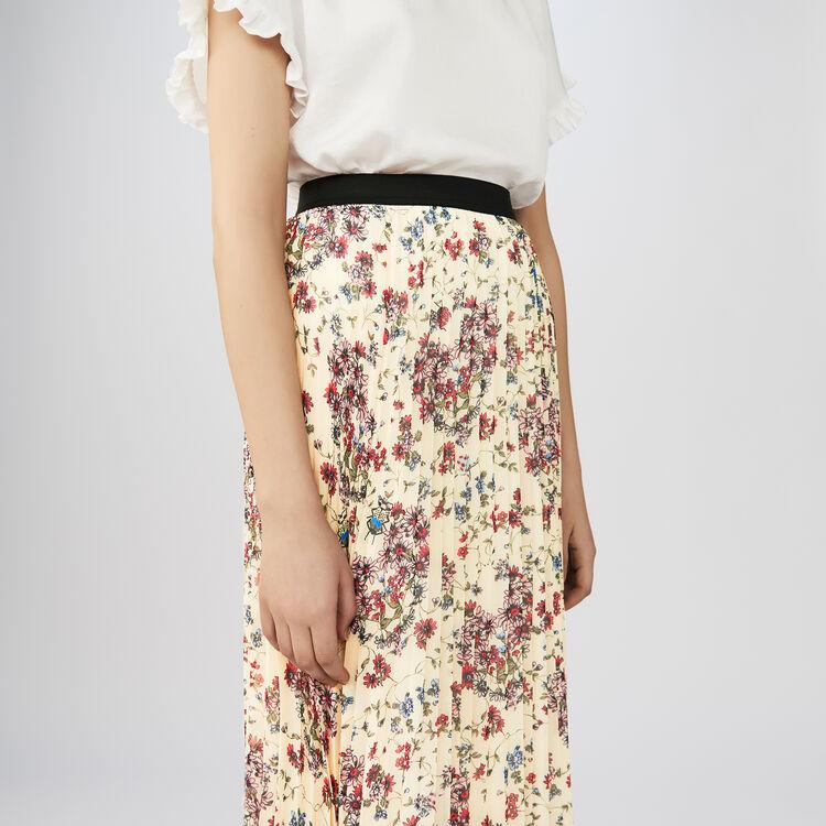 Jupe longue plissée à imprimé floral : Jupes & Shorts couleur IMPRIME