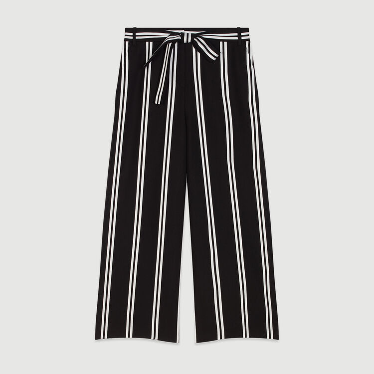 Pantalon large 7/8 à rayures : Pantalons & Jeans couleur Rayure