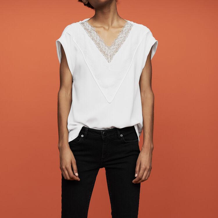 Top oversize avec dentelle : Prêt-à-porter couleur Blanc