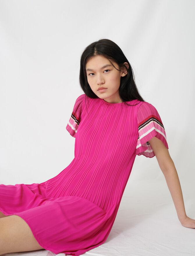 Robe plissée à rayures sporty - Robes - MAJE