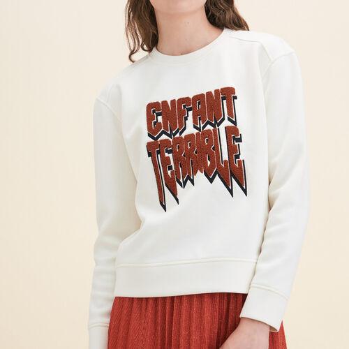 Sweat-shirt en Néoprène : Pulls & Cardigans couleur ECRU