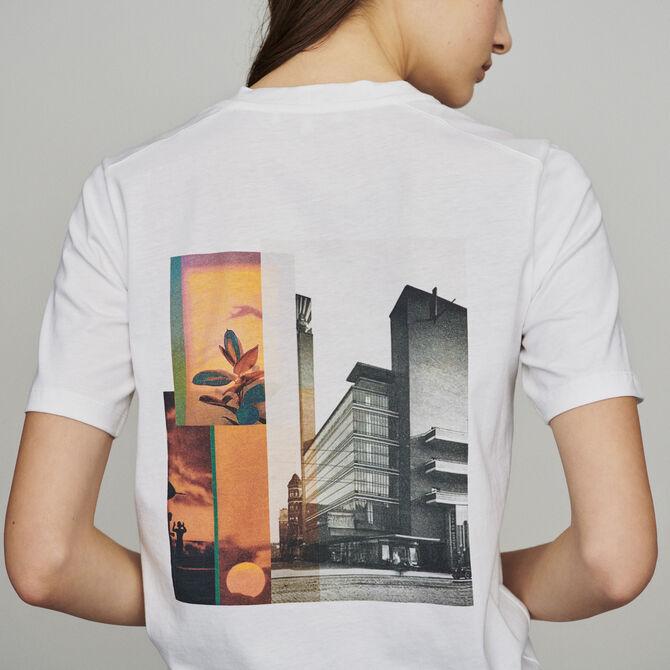 Tee-shirt à message et imprimé au dos -  - MAJE