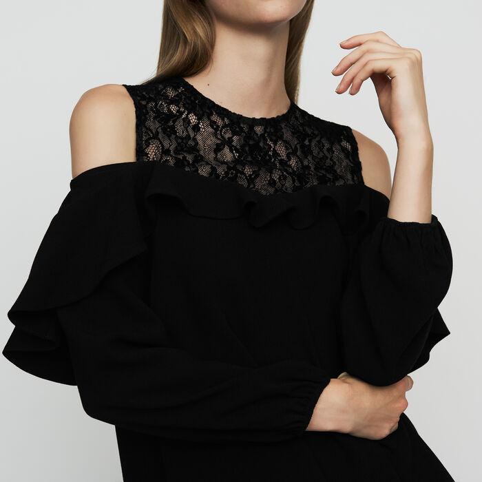Top en crêpe et dentelle velours : Tops couleur Black