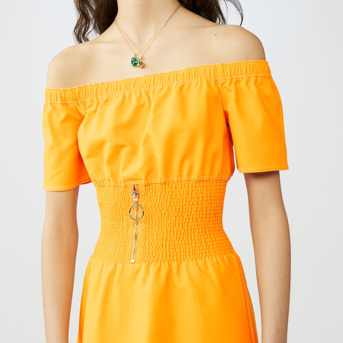 Robe midi à taille smockée : Robes couleur Jaune